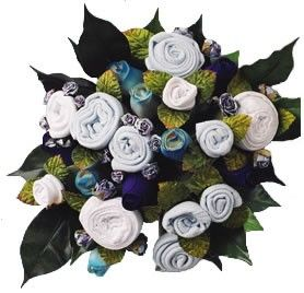 Baby Boy Blue Clothing Bouquet. Great babyshower gift for the mom to be!