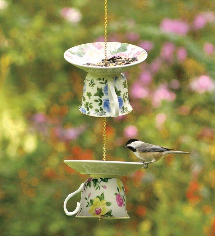 Ceramic Teacup Bird Feeders, Set of 3 @ Wind & Weather