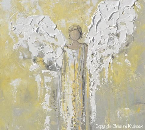 ORIGINAL Angel Painting Gold Grey Abstract Guardian Angel Textured Inspirational Home Wall Art - Christine Krainock Art - Contemporary Art by Christine - 5