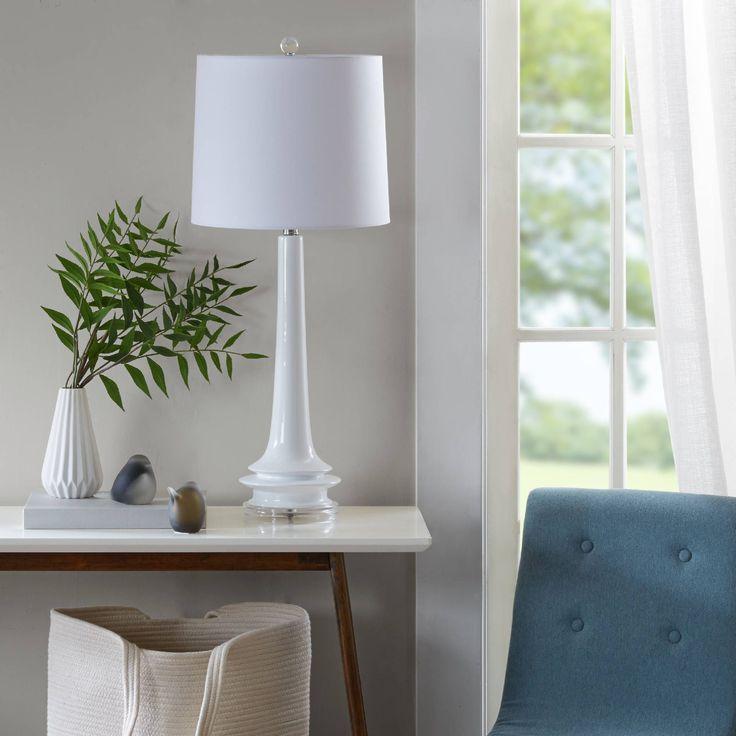 "Urban Habitat Harmony White Table Lamp (13L x 13""W x 31.5""H - White) (Ceramic)"