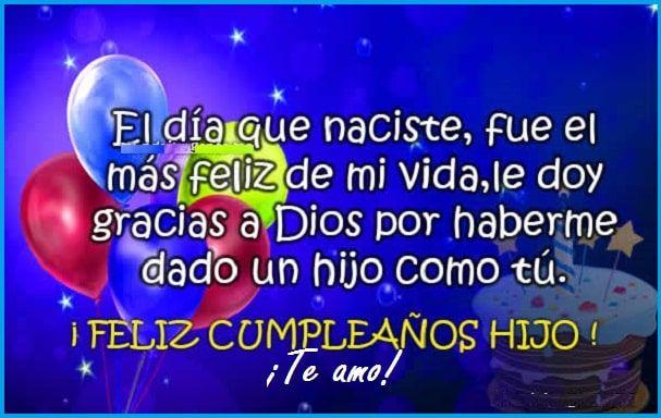 Tarjetas De Cumpleaños Para Mi Hijo Cumpleaños Hijo Mensaje De Feliz Cumpleaños Frases De Feliz Cumpleaños