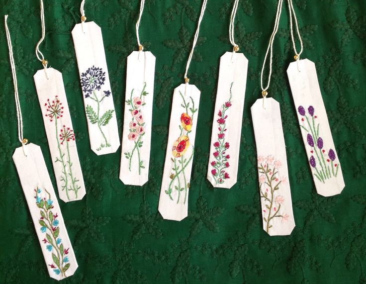 embroidery on bookmarks