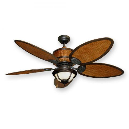 Home > Tropical Ceiling Fan w/ Light - 52 Cane Isle w/ Real Rattan ...