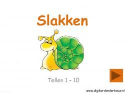 Digibordles tellen met slakken 1 - 10 http://digibordonderbouw.nl/index.php/themas/dieren/slakkendigibord