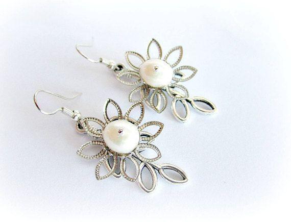 Freshwater pearls earrings dangle flower earrings bridal