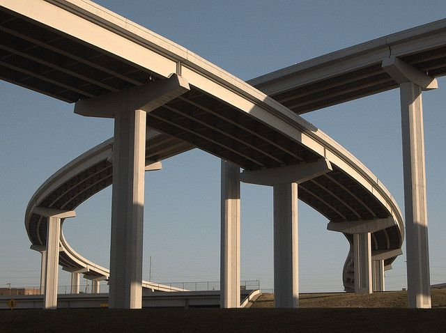 Freeway Interchange Ramps Exits Highway Road Bridges Fort Worth Texas. By Dallas Photographer David Kozlowski