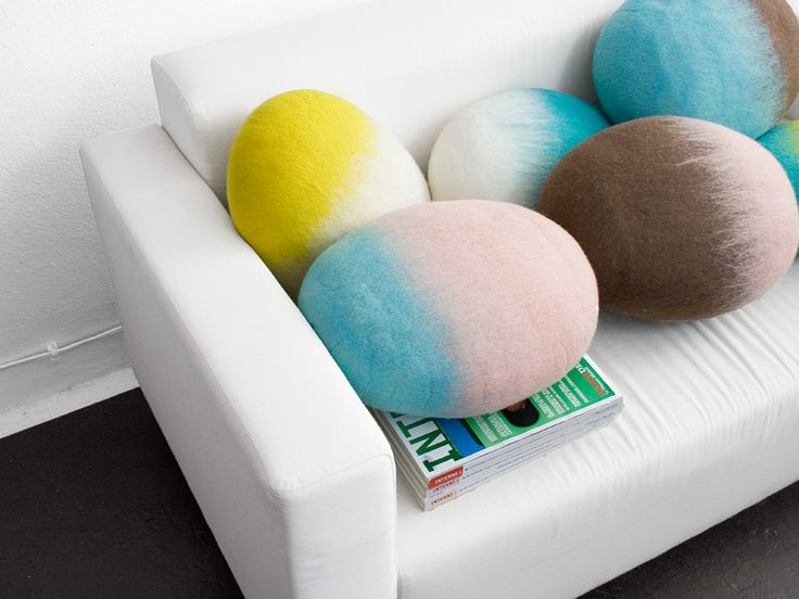 #Modern and #cosy #homeaccessories. Bright coloured, felted wool stone #cushions made of #natural Merino wool.