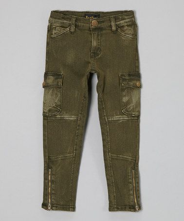 Take a look at this Olive Skinny Cargo Pants - Girls by Hannah Banana on #zulily today!