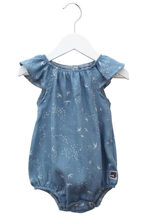 Sweet Child of Mine Chambray Birds Baby Romper | Boho Baby Clothes | Tiny Style | Australia