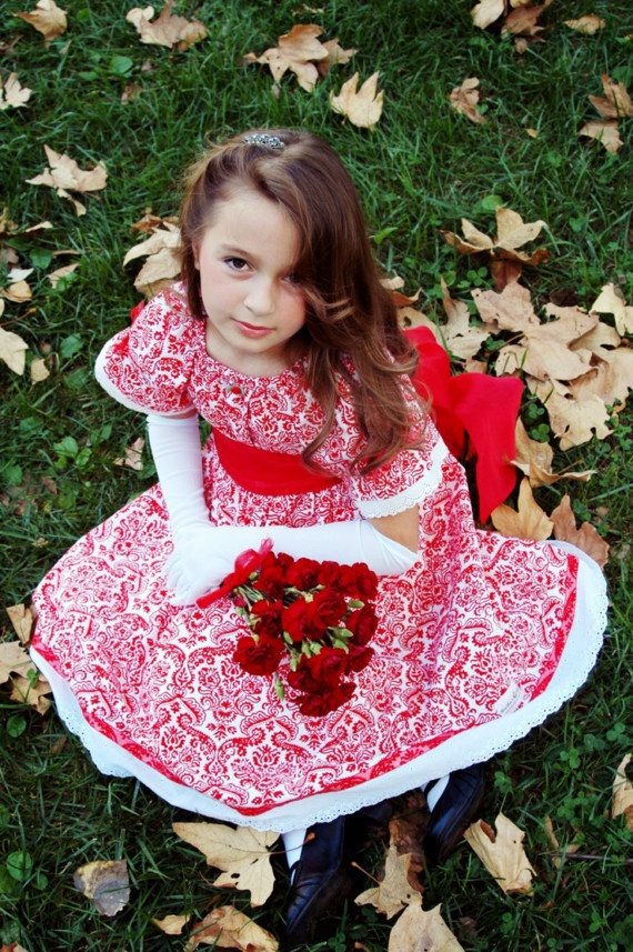 Next year christmas dress for girls ribbon ruffles sew cute fabric