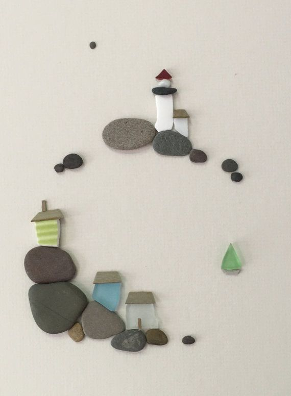 12 by 16 sea side art made with pebbles sea glass and by PebbleArt
