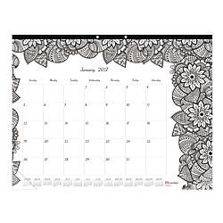Blueline DoodlePlan Coloring Monthly Desk Pad Calendar 22 x 17  50percent Recycled FSC Certified Botanica January December 2017 by Office Depot & OfficeMax