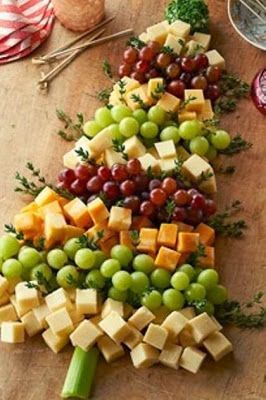 For your Christmas Party: Christmas Tree Cheese Board. .To make it all fruit, switch out cheese with kiwi, strawberries and apple slices.