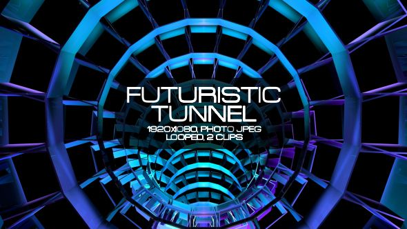 Futuristic Tunnel Video Animation | 2 clips | Full HD 1920×1080 | Looped | Photo JPEG | Can use for VJ, club, music perfomance, party, concert, presentation | #3d #circle #dance #disco #edm #electro #glow #loops #music #network #space #spin #techno #tunnel #vj