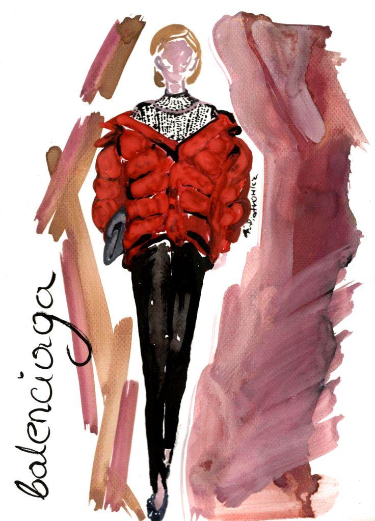 fashion illustration by Anna Piotrowicz, www.littlecupofart.pl balenciaga AW 2016