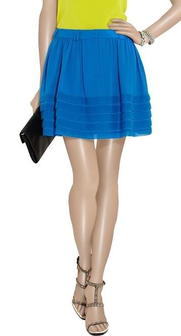 Adam Pleated Silk-Georgette Mini Skirt