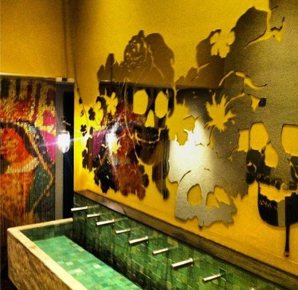 the #bathroom at #Wahaca in #London #mexican #mexico #style #design #calavera #skull #baño #sink #instagram follow @GrupoArteyDiseno