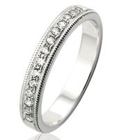 WHITE GOLD GRAIN SET WEDDING RING, 3.4mm WIDE SET WITH 14 X .02PT BRILLIANT CUT DIAMONDS IN THE  CENTRE