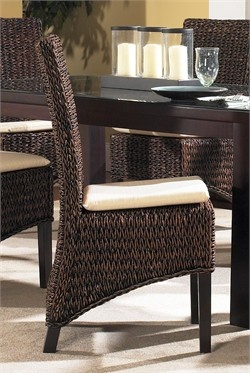 Seagrass Dining Chairs / Set of 2- Barbados  This set of 2 seagrass dining chairs is finished in a warm reddish-brown, and features a solid wood frame with a woven seat and wood legs. Not sold individually. Measures: 19