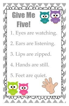 Give Me Five Poster - Owl Themed