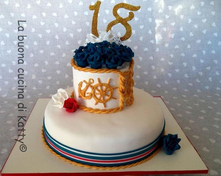 La buona cucina di Katty: Torta nautica con rose blu - Nautical cake with blue roses