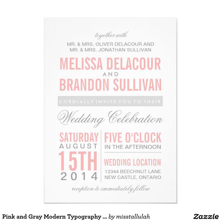 Pink and Gray Modern Typography Wedding Invitation