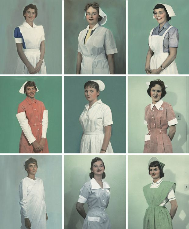 International Nurse Uniform Photograph Collection (ca. 1950), helene Flud Health Foundation    Left to right, top to bottom: Philippines, Denmark, British Honduras; Hong Kong, Madeira, Kenya; Nepal, Dominican Republic, Colombia