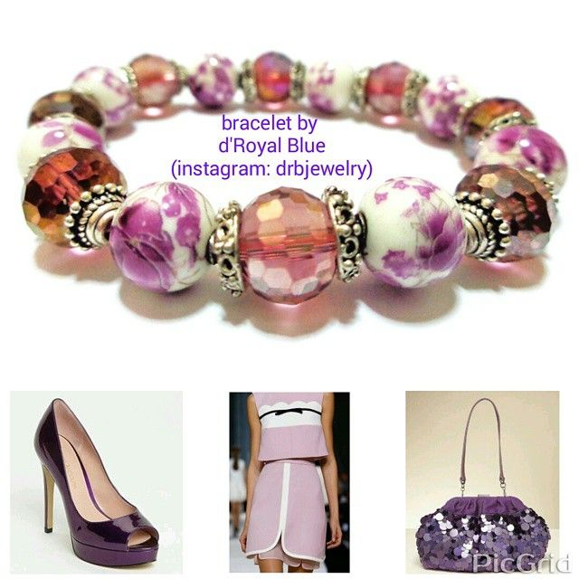 What do you think about this #combination ?  I only sell the bracelet. Other pics i found at #pinterest #purple #white #ungu #flower #bunga #inspirasi #busana #gelang #bracelet