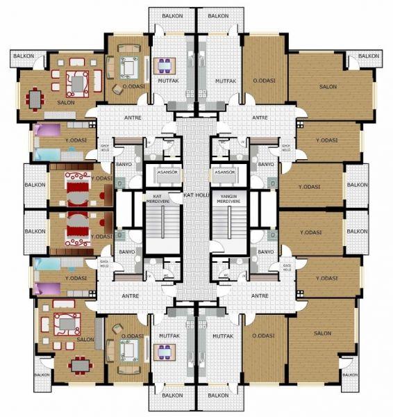 Okkalar İnşaat A.Ş. :: Projeler / Almina Evleri - Kat Planı