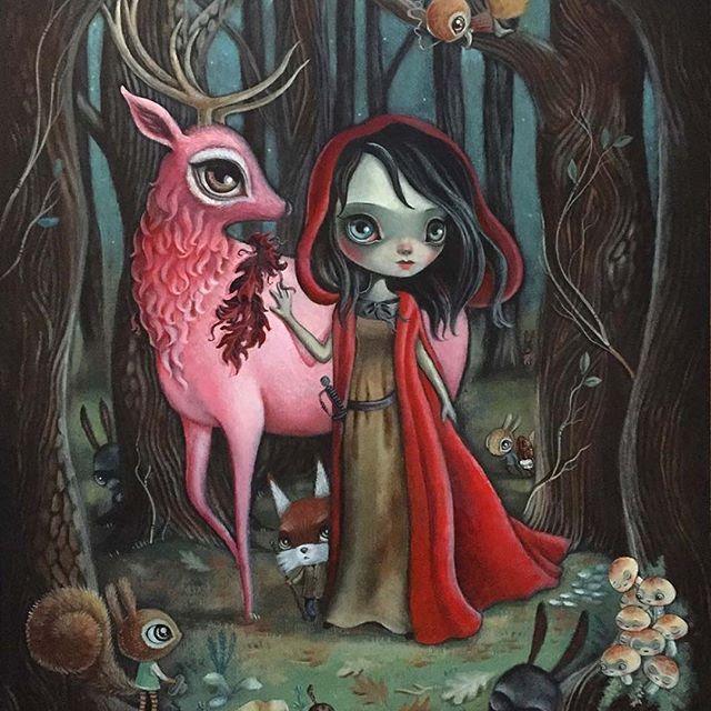 """""""Red Ukulele"""" Acrylic on a 12 X 15"""" Cherry Board. #64colors #lauracolors #laura64c #squirrelswithhats #mushrooms #fox #ukulele #bunniesloveukuleles #pinkelk #bigeyes #popsurrealism #artsanity"""