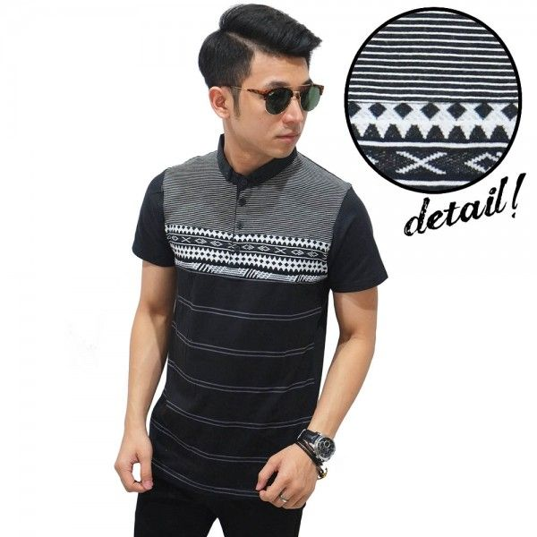 Jual Polo Stripe And Tribal Black IDR 70rb Frozenshop.com