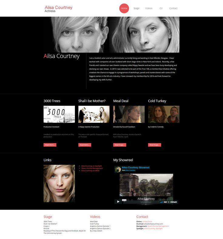 Actor web site design.developed using Bootstrap and Umbraco CMS as part of my Website design in East Kilbride, Glasgow  Scotland.
