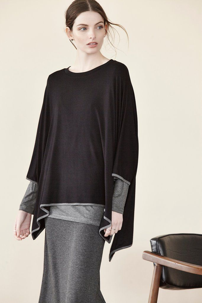 Double Boatneck Piping Poncho