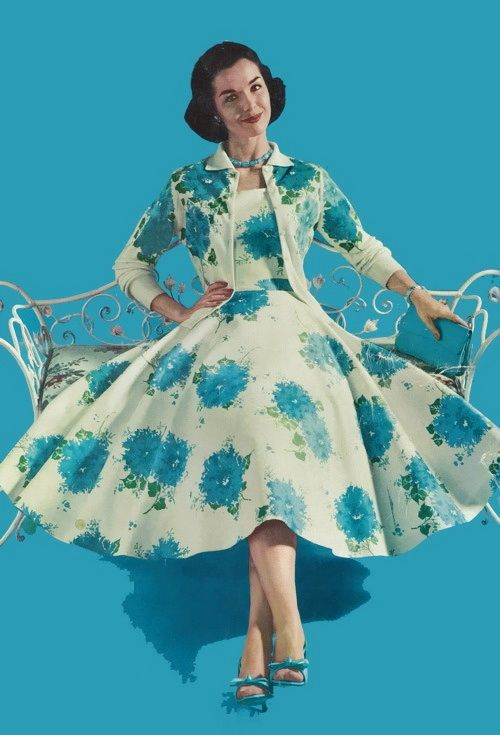 Gorgeous blue, green and white 1950s spring/summer full skirted dress with matching cropped jacket.
