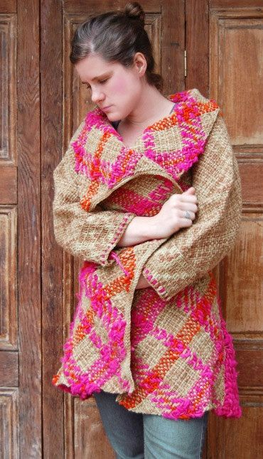 Fuchsia and orange woolen tartan wrap coat by Ullvuna on Etsy, $190.00