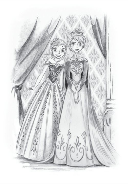 Official Random House Frozen illustration of Elsa, looking serenely beautiful, accompanied by her sister Anna.