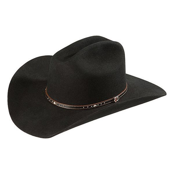 Justin 2X Black Hills Wool Cowboy Hat ❤ liked on Polyvore featuring  accessories 307667fa70dd