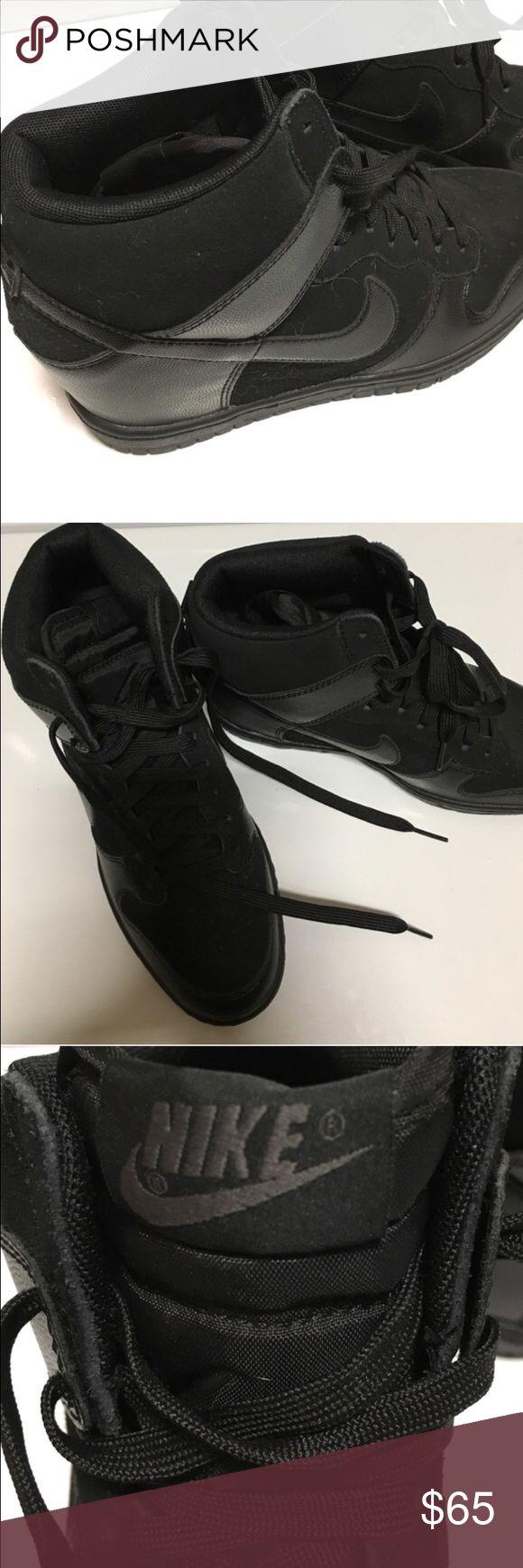 Black Nike Sky Hi Wedge Sneakers Like new condition, super cute wedge tennis shoes. All black. Nike Shoes Sneakers