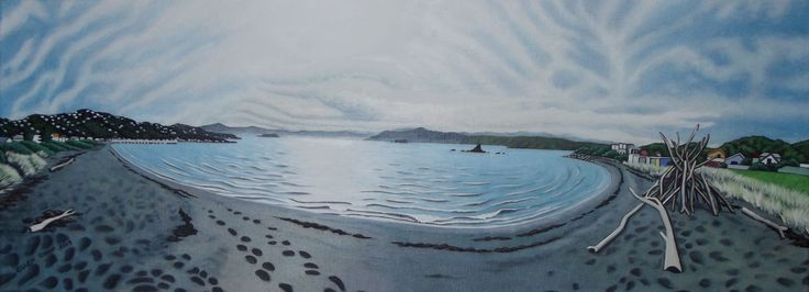 """Seatoun Beach"", 2015 Commission.  Oil on canvas, 80cm x 30cm"
