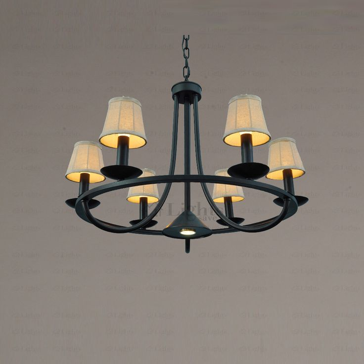 Rustic 6-Light Fabric Shade Black Wrought Iron Chandeliers