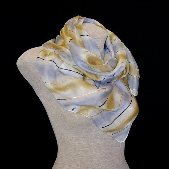 Silk scarf - Summer storm - platinum grey and sand beige, golden copper anthracite lightning - luxurious gift FREE SHIPPING