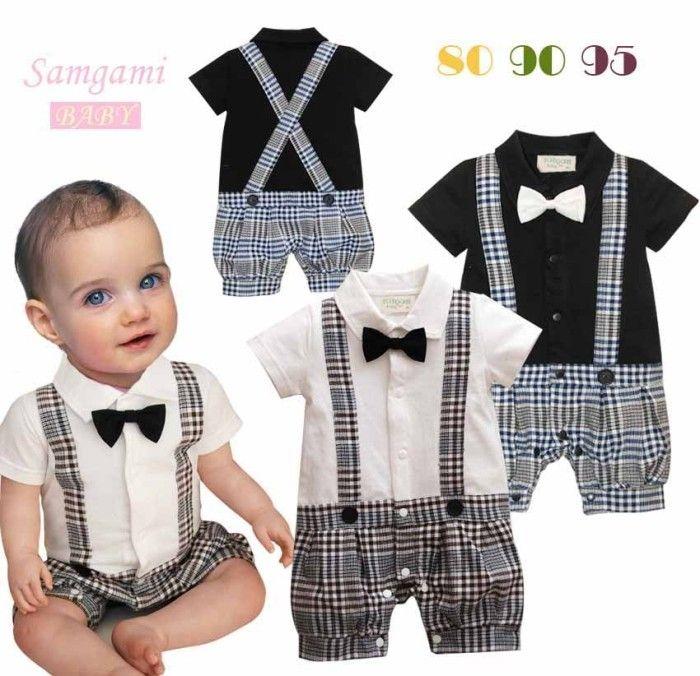 Baby BOY Wedding Bowtie Tuxedo Christening Onepiece Romper Bodysuit Outfit 0 24M