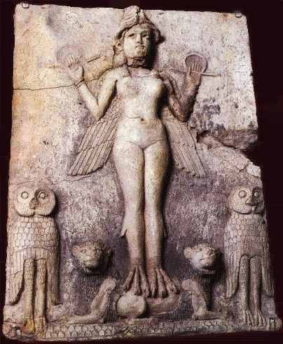 20 centuries before Christ, Mesopotamians carved this clay plaque of the goddess Lilith. Paint traces show her body was red and her wings black, the colors of blood and death. The owls' feathers alternated red and black, and the lions' manes were black.