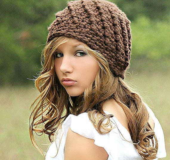Brown Beanie Hat for Women, Chunky Knit Crochet Hat, Cute Winter Hats, Gifts for Her, Fall Fashion, Beanies and Hats for Women and Teens