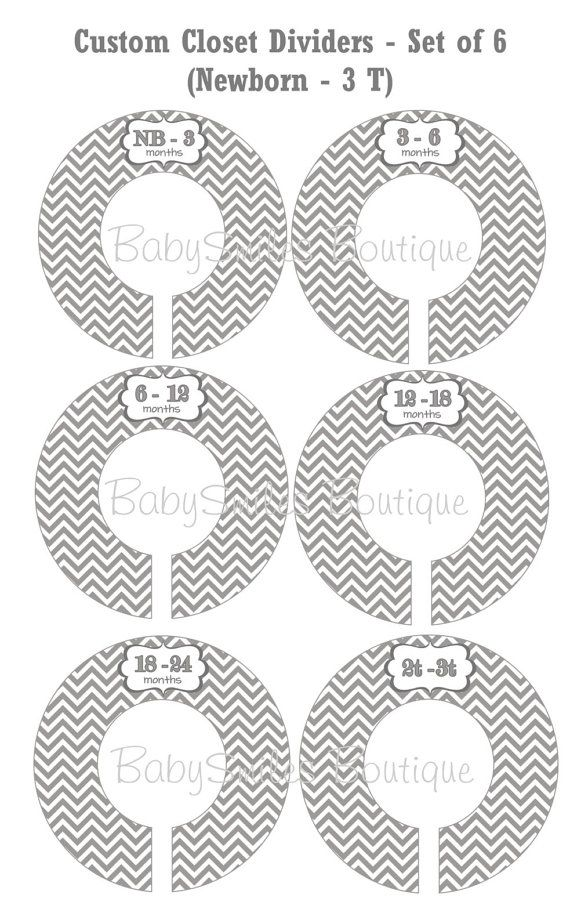 Printable Baby Closet Dividers Part - 18: Custom Closet Dividers Baby Closet Dividers Baby Girl Nursery Dividers Baby  Shower Gift Closet Organizers - Grey Chevron Patterns 130 | Organization ...
