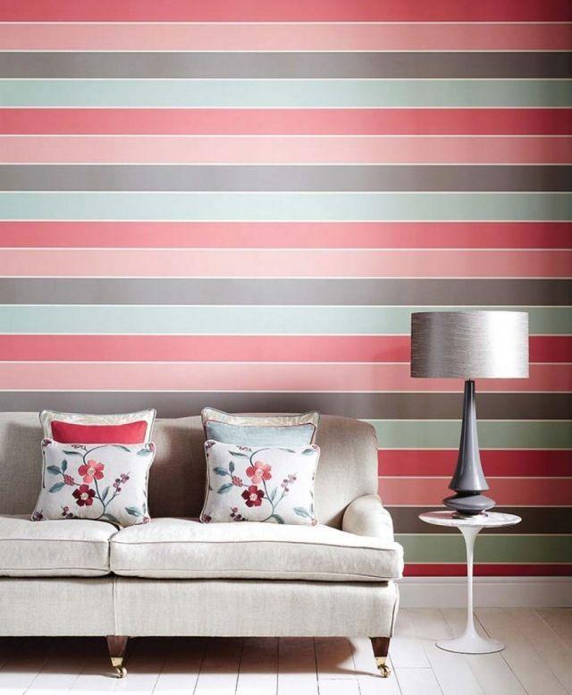 streifenmuster wohnzimmer tapeten rosa grau hellblau. Black Bedroom Furniture Sets. Home Design Ideas