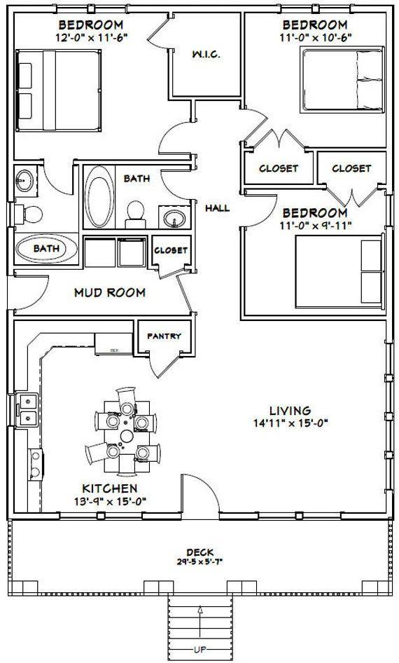 30x40 House 3 Bedroom 2 Bath 1200 Sq Ft Pdf Floor Etsy In 2020 Cabin Floor Plans Floor Plans Modern House Floor Plans