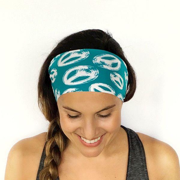Yoga Headband Workout Headband Fitness Headband Running Headband Peace... ($7) ❤ liked on Polyvore featuring accessories, hair accessories, grey, headbands & turbans, stretch headbands, bohemian hair accessories, yoga headbands, boho chic headbands and head wrap headband