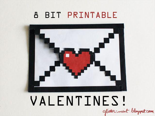 Glitter Mint: Free Printables: 8-bit Envelope for Valentines