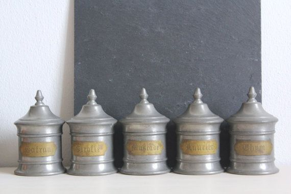 SALE 50 OFF Vintage French Spice Jars Spice Tins Sn by CakeNumber9